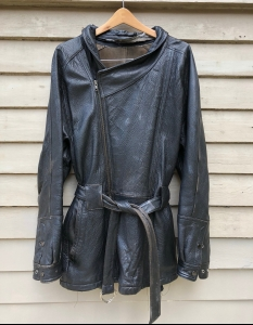 Vintage Black Leather Coat - Ready for upcycling
