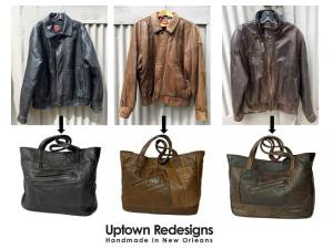 Before and After of upcycled leather bags