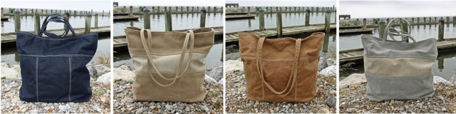 Waxed and Stonewashed Canvas Tote Bags on beach