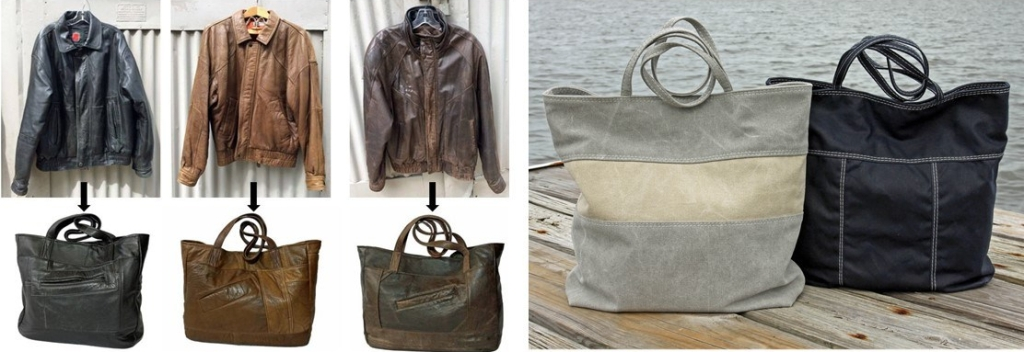 Upcycled Leather and Canvas Bags