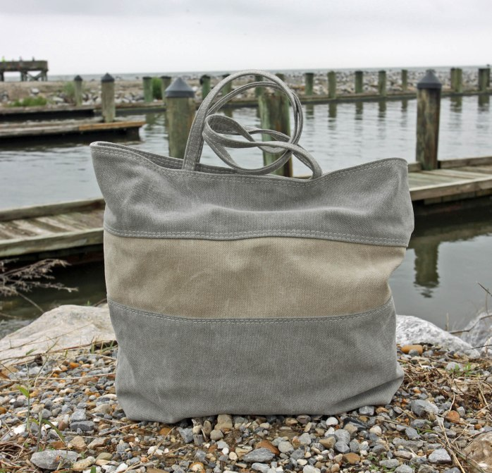 Stonewashed Canvas Tote bag on beach