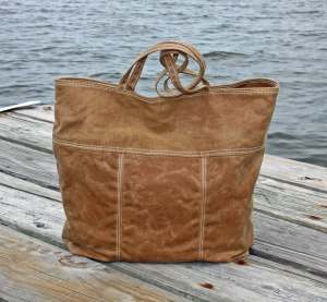 Brown Waxed Canvas Tote