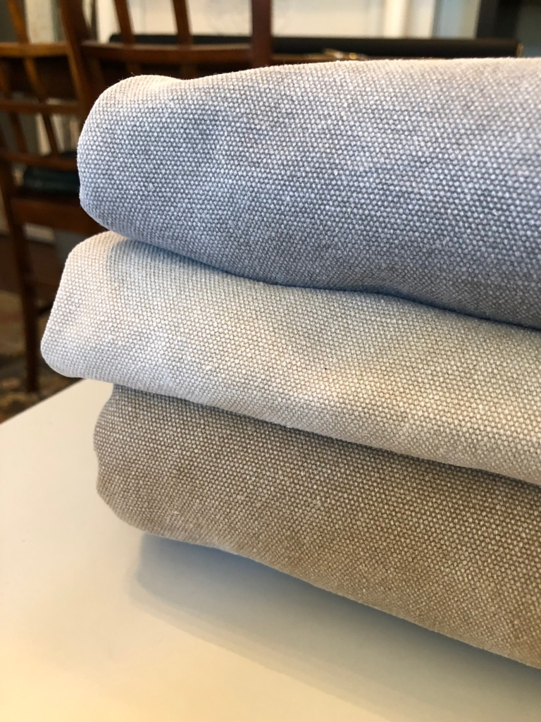 Stack of stonewashed canvas fabrics