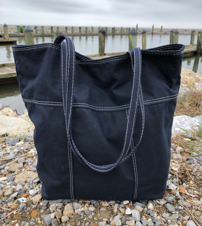 Dark Navy Blue Waxed Canvas Tote