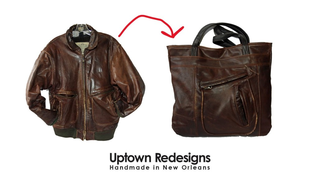 Before and after image of a worn-out brown leather bomber coat transformed into a new leather tote bag