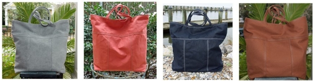 four cotton canvas tote bags