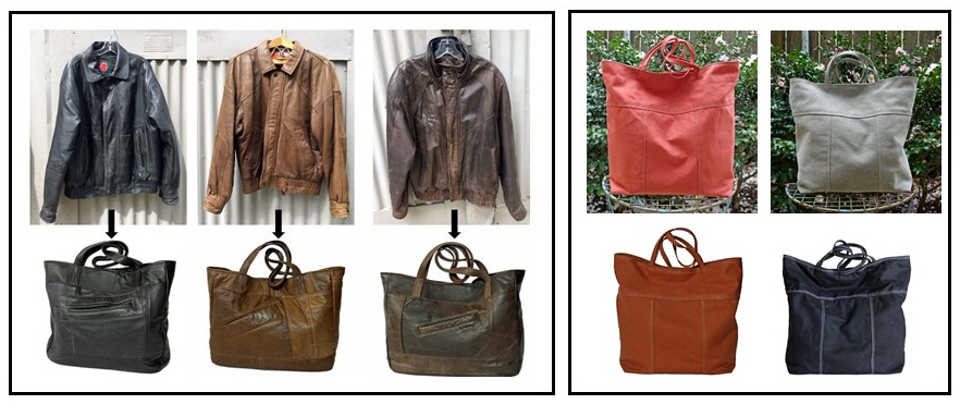 Upcycled Leather and Handmade Canvas Tote Bags